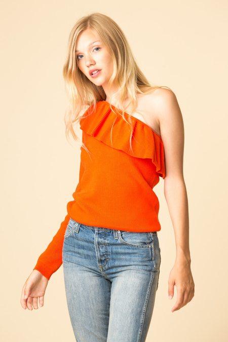 Ganni Poppy Knit One-Shoulder Blouse
