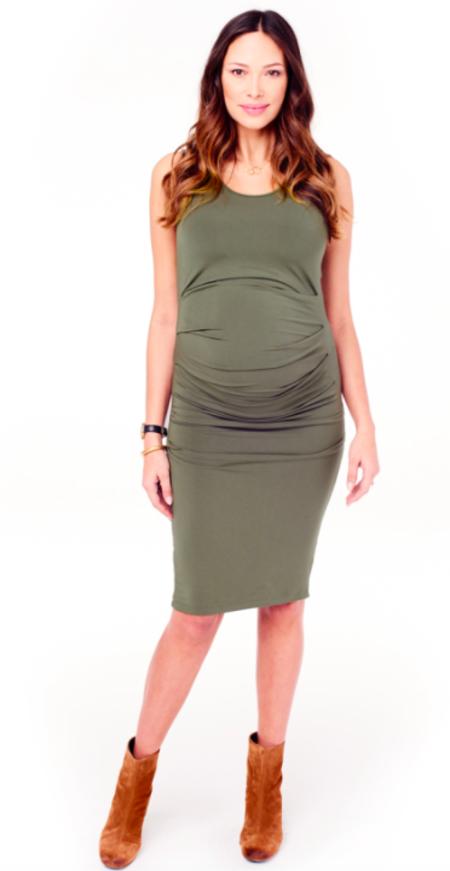 Ingrid & Isabel Pleated Tank Dress - Olive