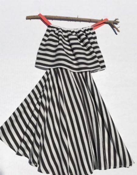 Kids Charlie & Alivia Alivia Maxi - Black/White Stripe