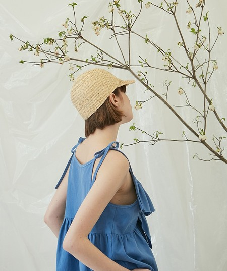 ANOTHER A Frill Ribbon Linen TOP - BLUE