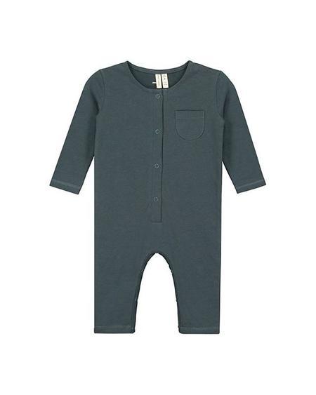 Kids Gray Label L/S Playsuit - Blue Grey