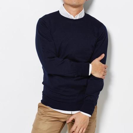 John Smedley Crew Neck Sweater - Navy