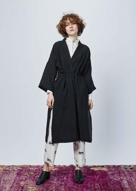 Aleksandr Manamis Linen Kimono Coat - black