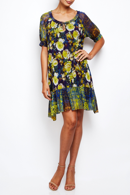 Fuzzi floral airy half sleeve dress with ruffle hem - floral print