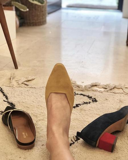 Loq Carmen Curry Suede Mules Sandals - Curry