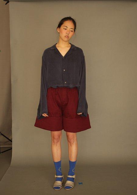 Unisex DANSHAN Silk Pajama Shirt - Navy