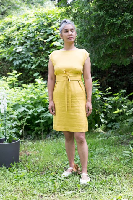 Sosie Sosie RC001 Belted Dress - Yellow