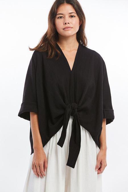 Miranda Bennett Kahlo Textured Cotton Top - Black