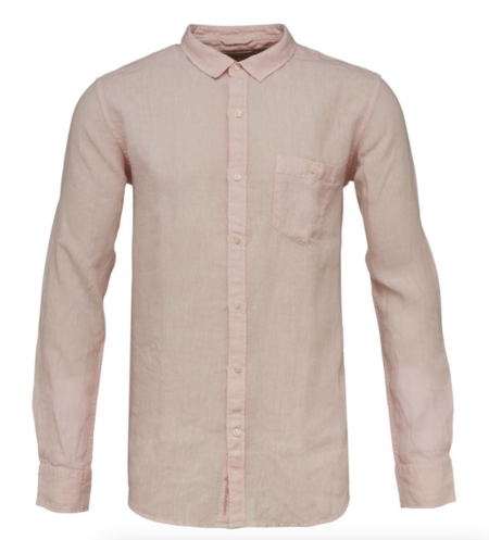 Knowledge Cotton Apparel Fabric dyed Linen Shirt - Orchid pink
