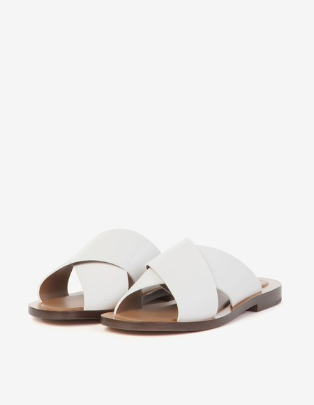 Amblême Madrague Calfskin Sandals - White