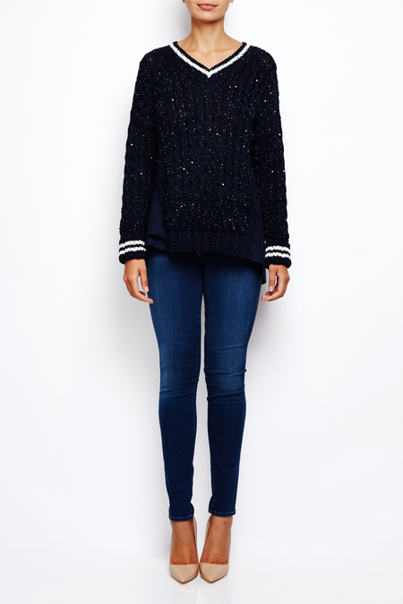 Coohem sparkle tweed cotton v neck tennis sweater - navy