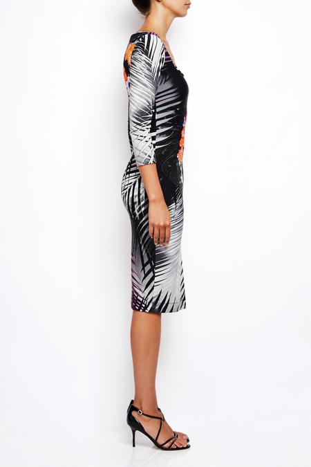 Fuzzi square neck fitted neoprene dress - black palm