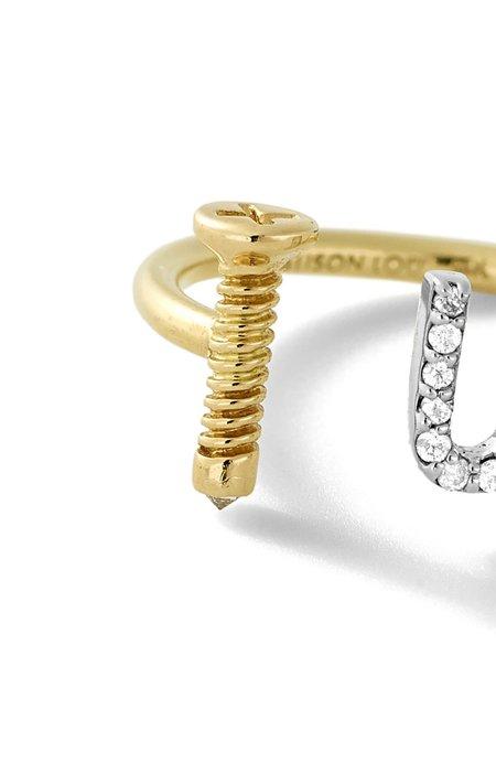 ALISON LOU 14K Gold Screw U Ring - yellow gold