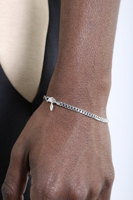 The Silver Stone Oxidized Cuban Bracelet