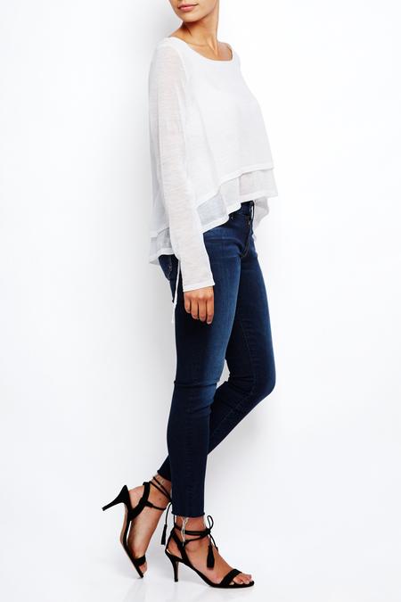 Sarah Pacini ramie linen double hem sweater - white