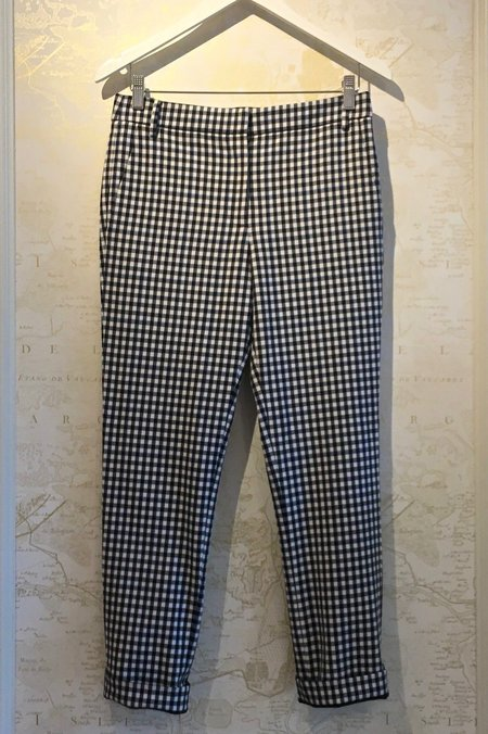 Tibi Gingham Suiting Beatle Cropped Pant
