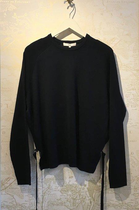 Tibi Merino Wool Poplin Back Pullover - navy