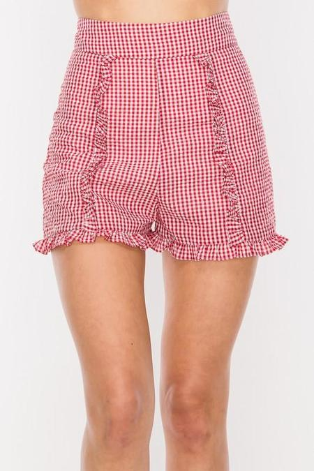 A Beauty by BNB Pinup Girl Gingham Ruffle Shorts - Red