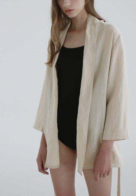 Nicole Kwon Concept Store Solid Linen Wrap Robe - beige