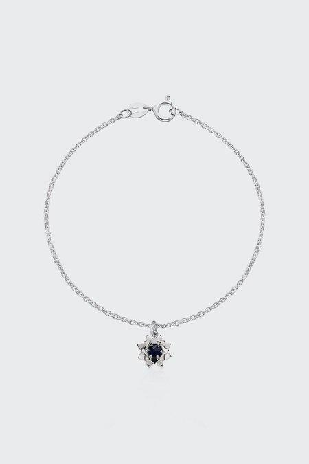 Meadowlark Protea Charm Bracelet with Stone - silver/midnight sapphire