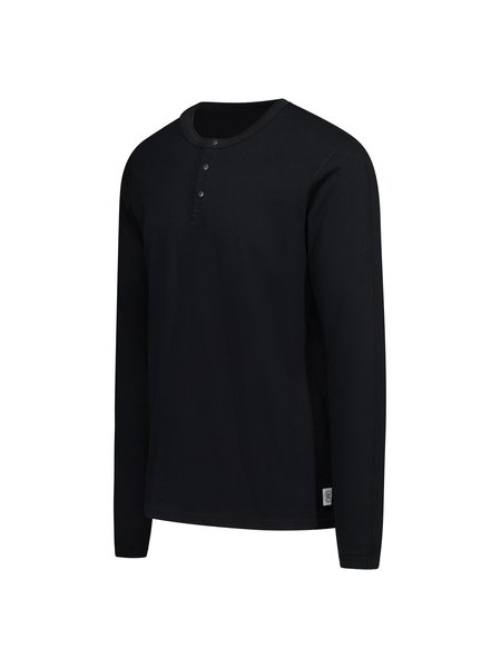 Reigning Champ Knit Cotton Jersey LS Henley - black