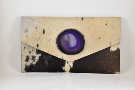 Krava Haircalf with Purple Stone Clutch - Ivory