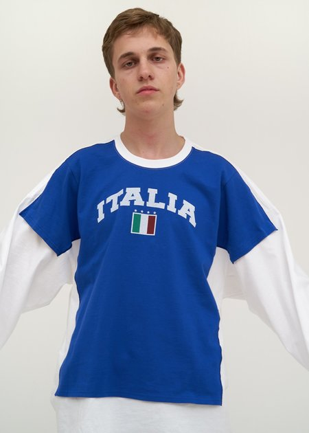 Doublet T-Shirt with Kids T-Shirt - white/blue