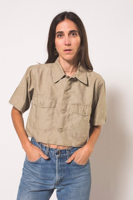 Preservation Vintage Distressed Uniform Crop Top - brown