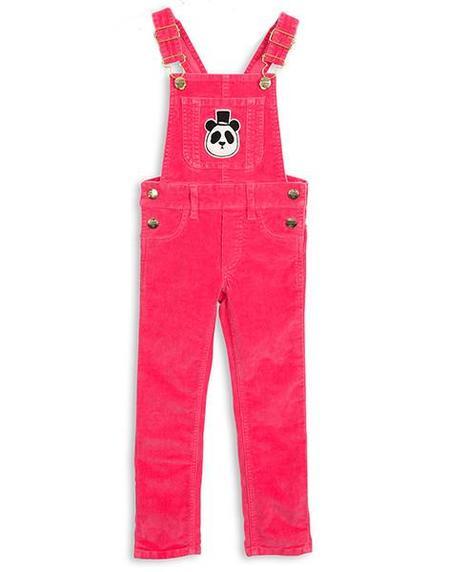 kids Mini Rodini Organic Cord Dungarees - Pink