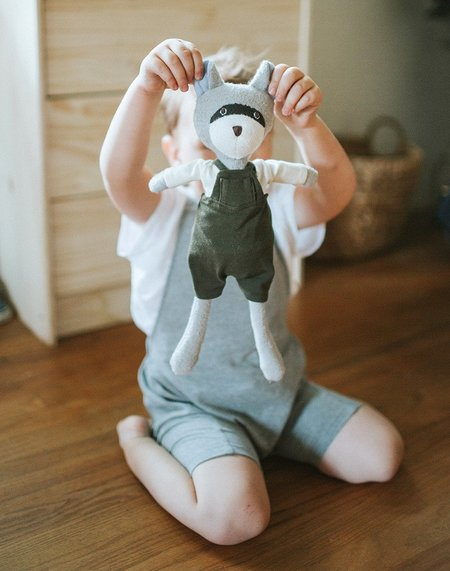 Kids Hazel Village Max the Hipster Raccoon Doll - Forest Green
