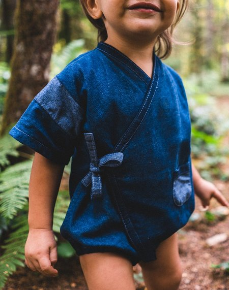 Kids Kiboro Kimono One-Piece - Recycled Dark Denim
