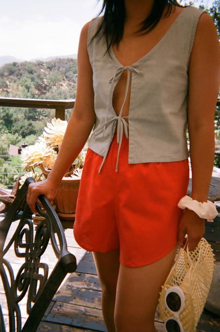 Lisa Says Gah For Garmentory   Capri Linen Tie Top - Dusty Blue