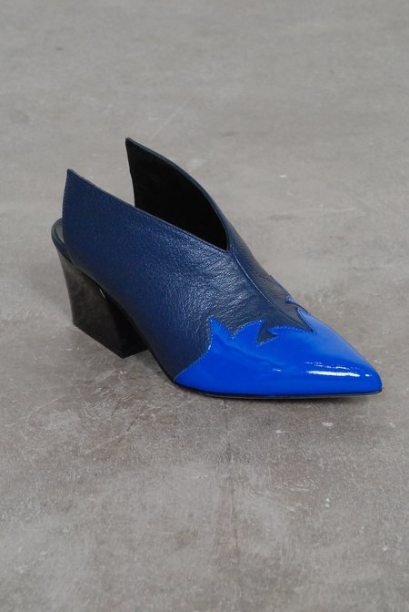 Tibi Floyd Mules Leather Patent - Blue/Electric Blue