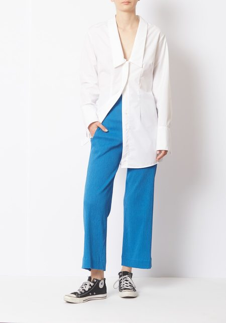 Her Line Shirred Voile Trousers - Blue
