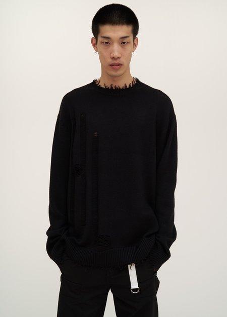 Helmut Lang Logo Distressed Knit Sweater - black