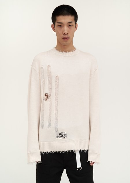 Helmut Lang Logo Distressed Knit Sweater - white