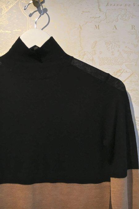 Joseph High Neck Colour Block Cashair Knit - black/tan