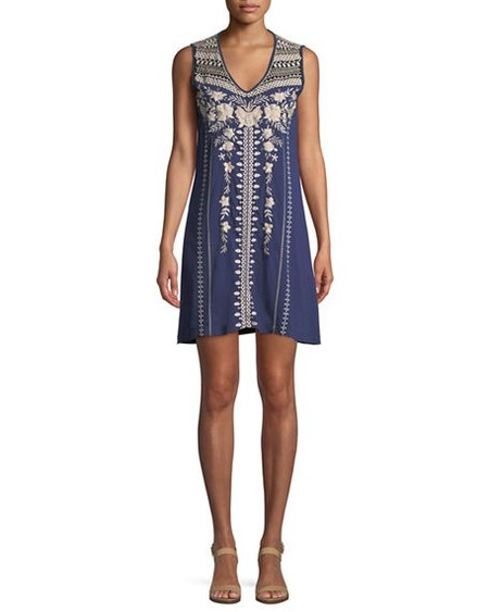 Johnny was BRIAR YOKE TUNIC DRESS - Blu