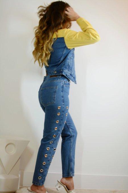 Tach Mola Side Eyelet Jeans - Blue Denim