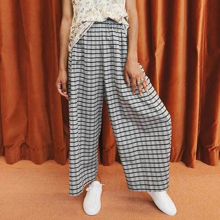 Henrik Vibskov Come Together Pants - blue-grey check print
