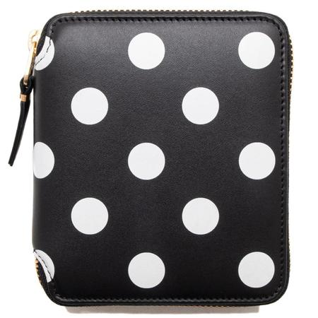 COMME des GARÇONS Full Zip Wallet Dots Printed Leather Line - Black