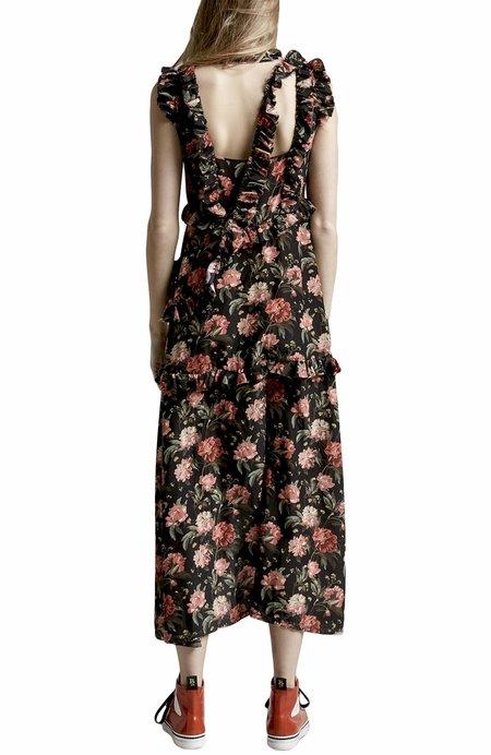 R13 Ruffle Slit Dress - Black Floral
