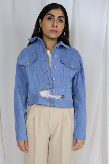 ROCKET X LUNCH Cut-Out Denim Jacket - Sky Blue