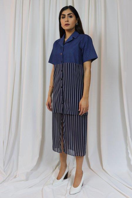 ROCKET X LUNCH Denim Chiffon Layered Dress - Navy