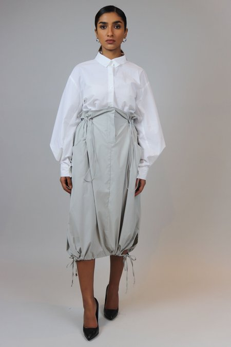W A N T S High Waisted Parachute Skirt - Grey