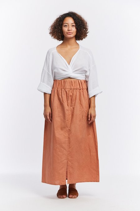 31cd5a207a ... Miranda Bennett Linen Paper Bag Skirt - Sonora
