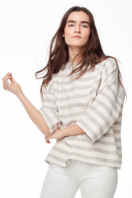 Proud Mary Exclusive Huipile Stripe Top - Grey/White