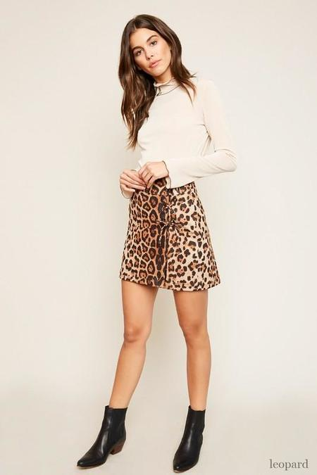 Hayden Los Angeles Lace Up Miniskirt - Leopard