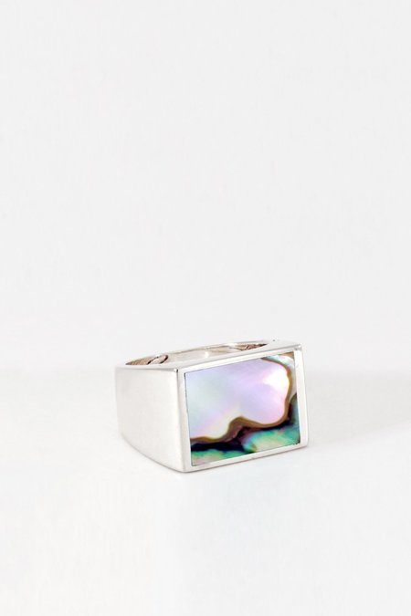 Legier Silver Abalone square Signet Ring