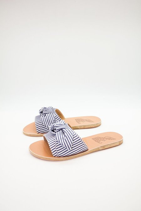 Ancient Greek Sandals Taygete Bow Slide - blue/white stripes